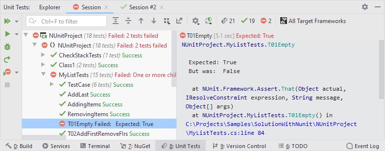 JetBrainsRider: Unit test sessions