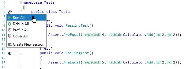 JetBrainsRider: Running unit tests from the editor