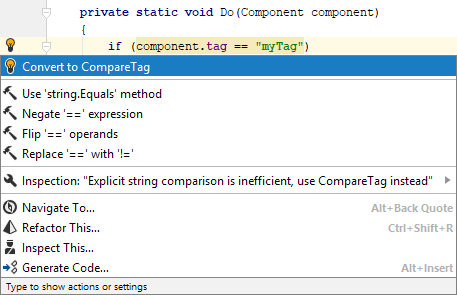 Compare tag quick-fix