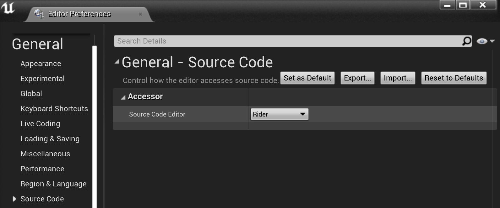 Unreal Editor: Editor Preferences | General | Source Code