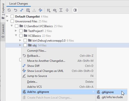 JetBrains Rider: adding files to .gitignore