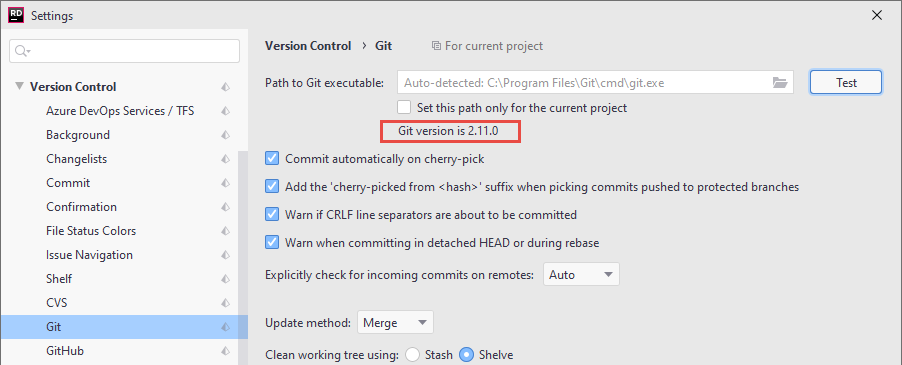 JetBrains Rider: Checking the status of Git executable