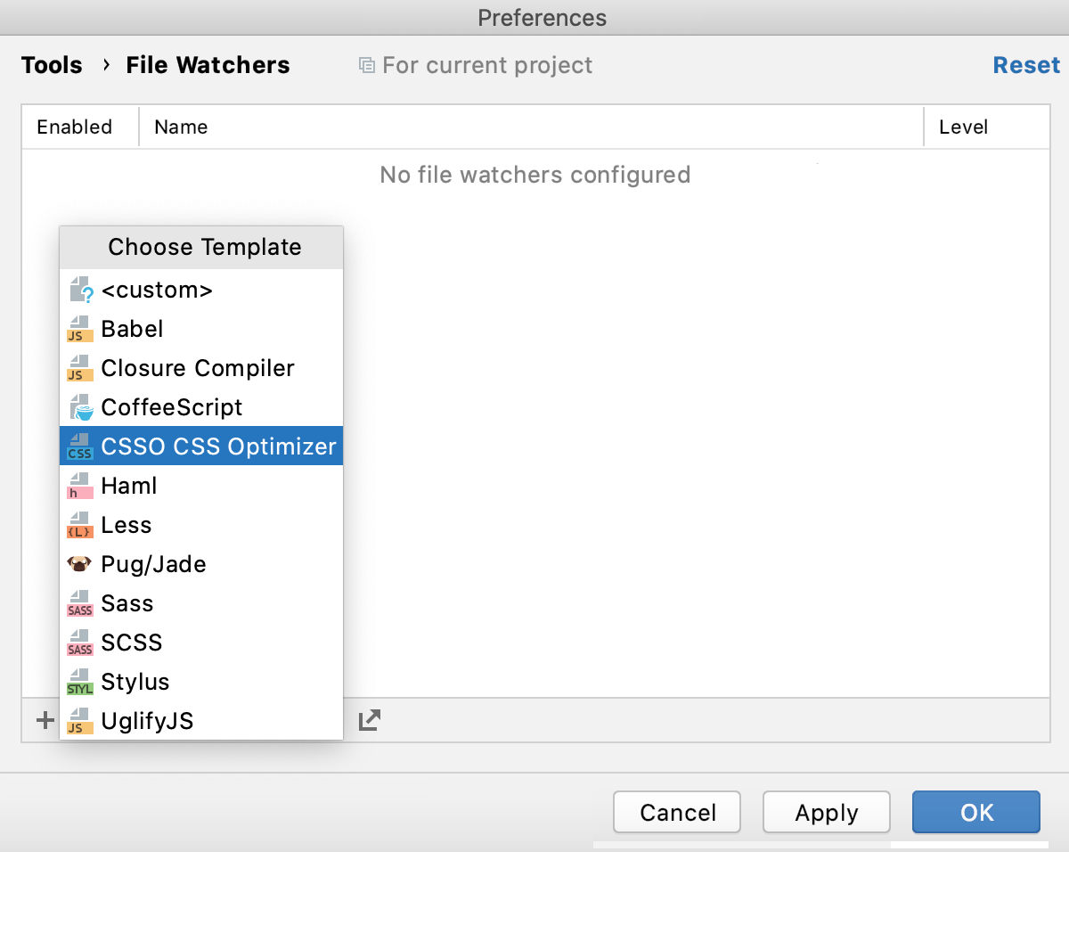 Create CSSO watcher: Click Add and select template