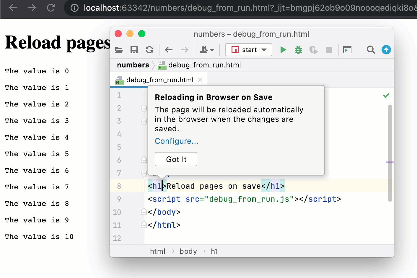 Reloading a HTML page on save