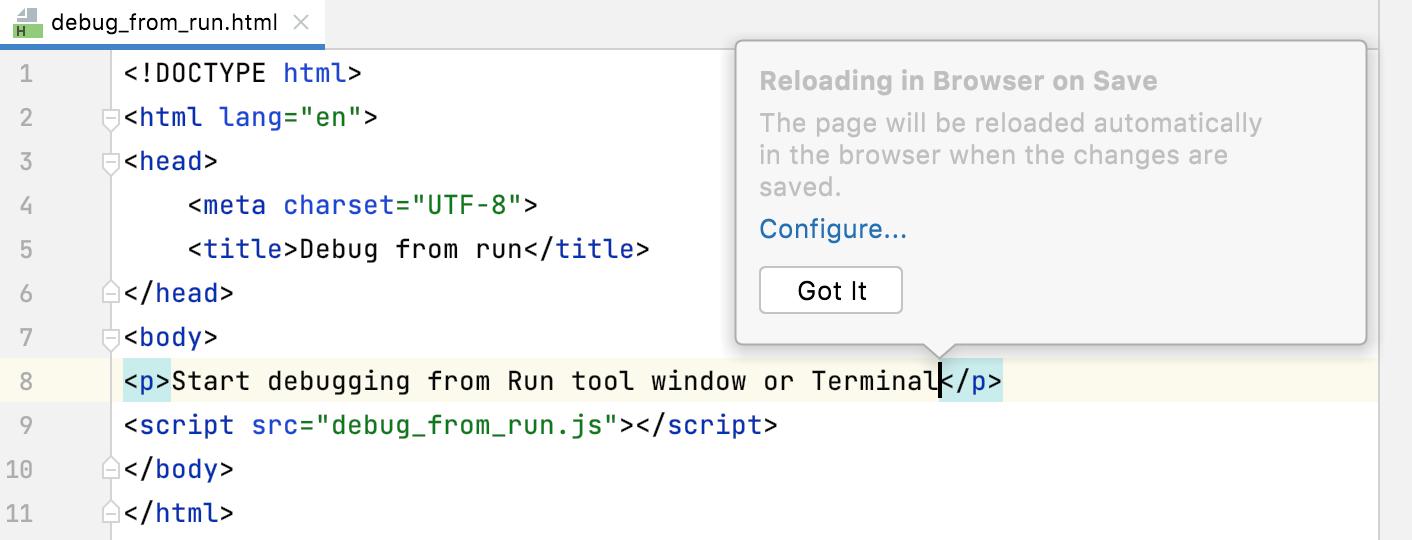 Reload on save: Got it tooltip