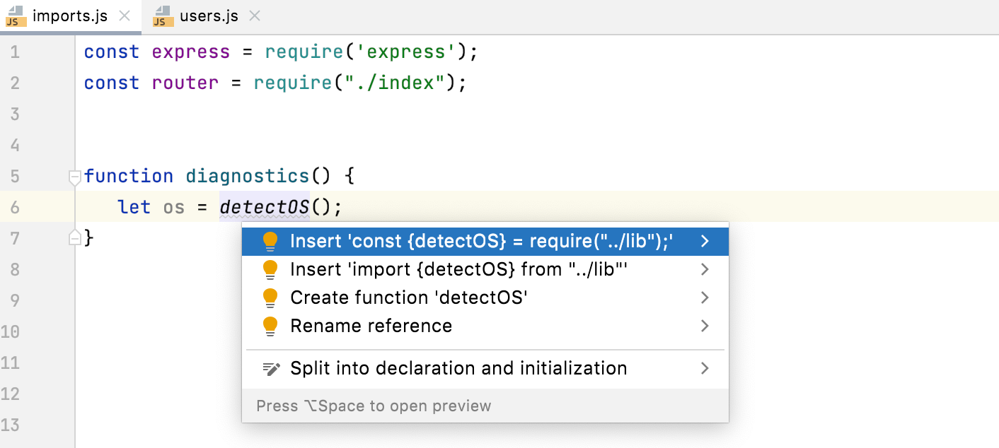 Quick fix: select import style