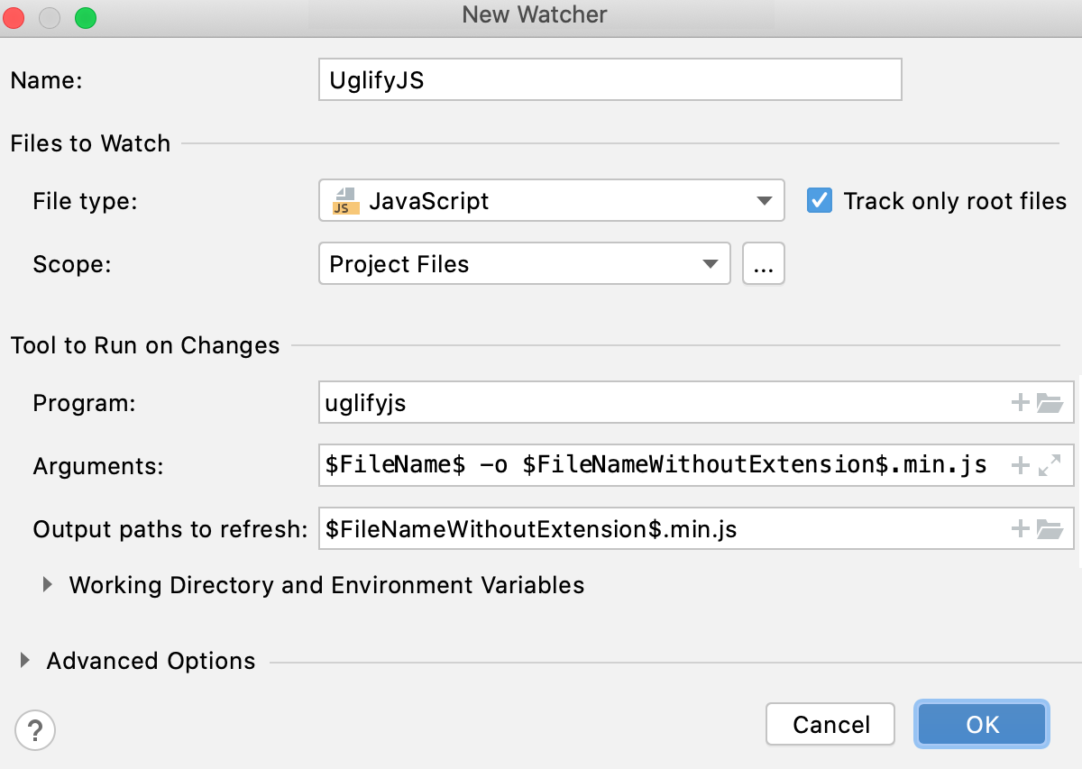 Create UglifyJS watcher: New Watcher dialog with default settings