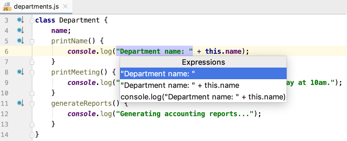 Introduce Constant: select the expression