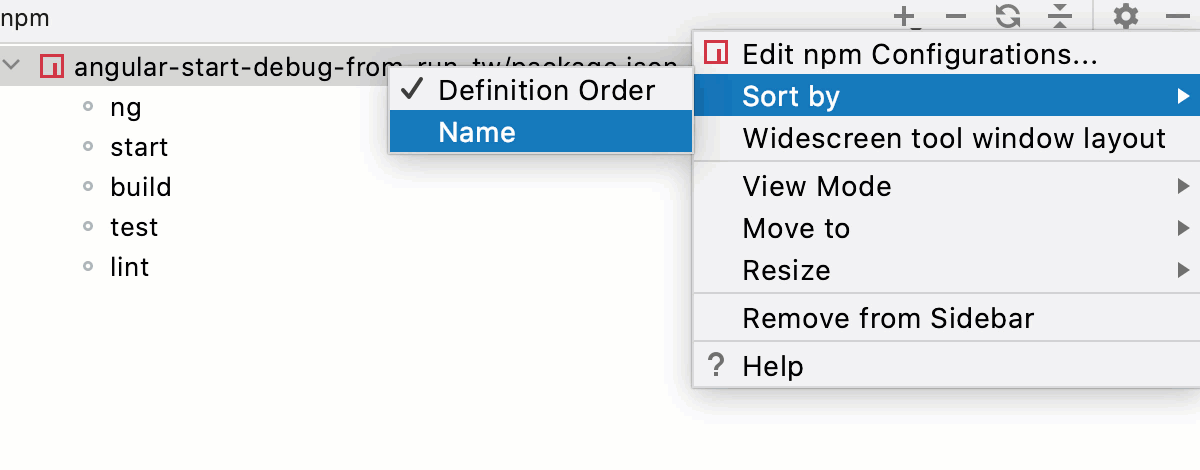 Sort scripts by name