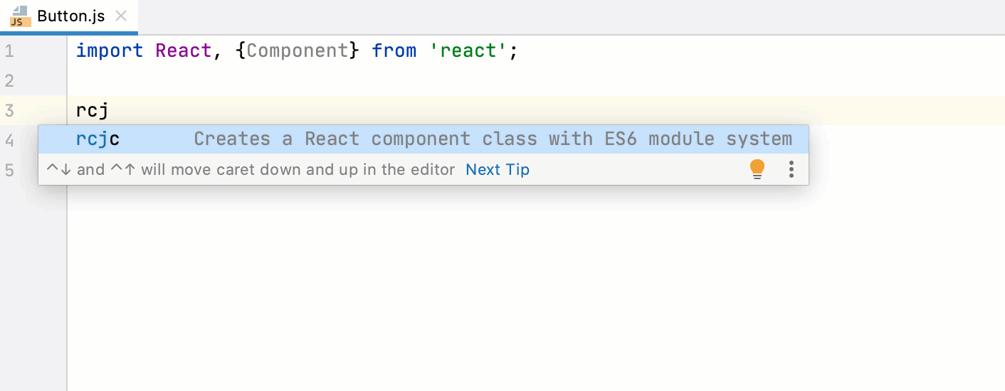 Live template for a React component