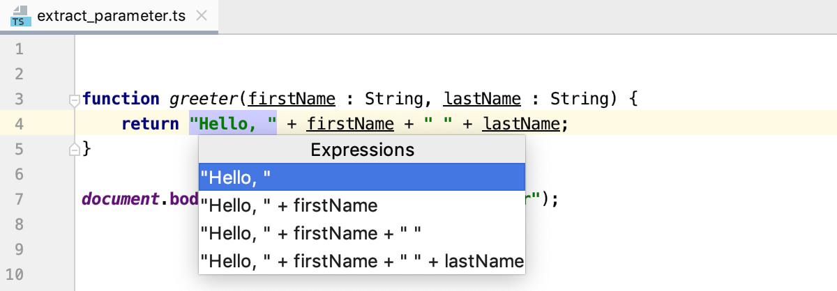 Introduce Parameter: select an expression
