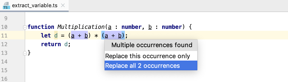 Introduce Variable: multiple occurrences of the selected expression detected
