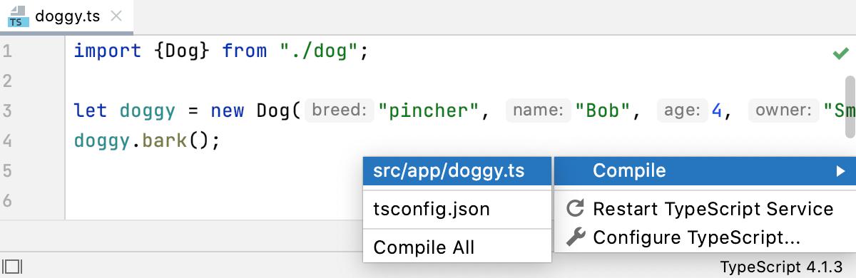 TypeScript widget: compile current file