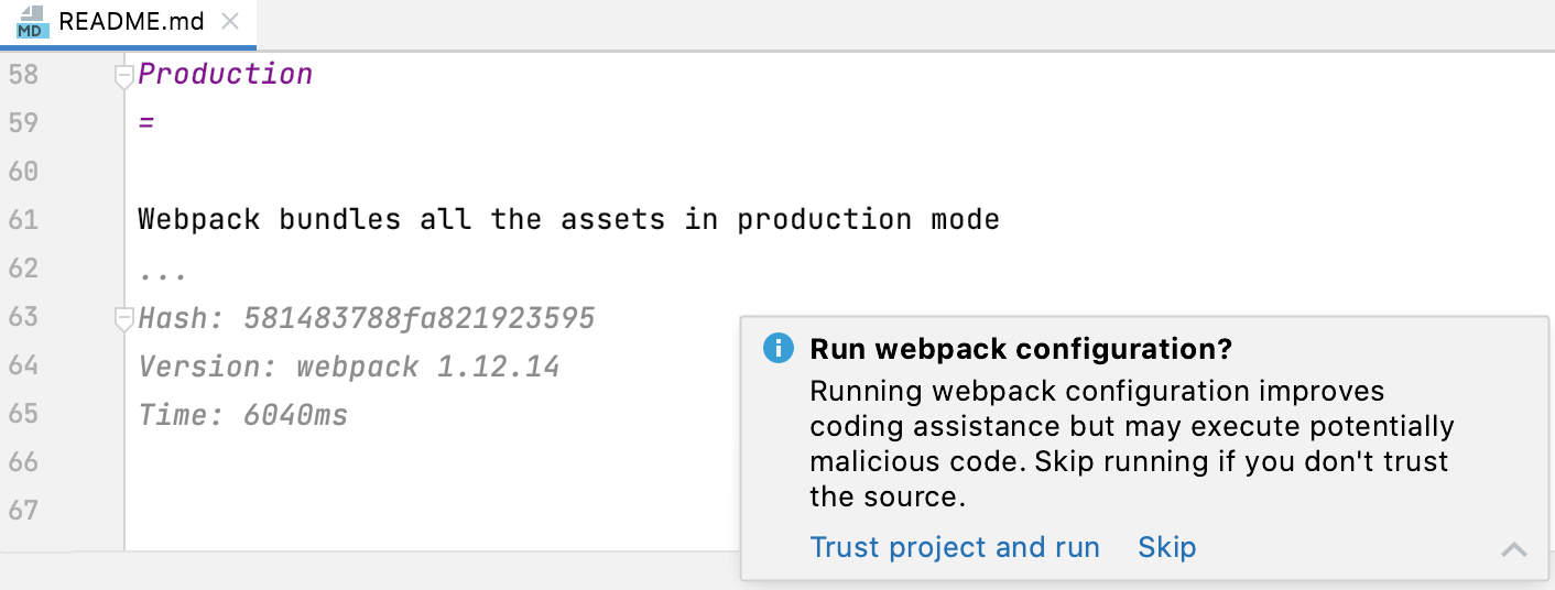 Untrusted project warning