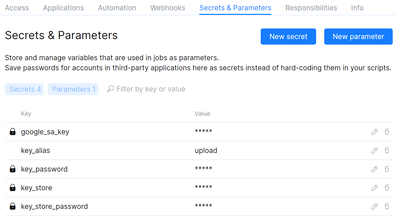 Secrets for Android automation