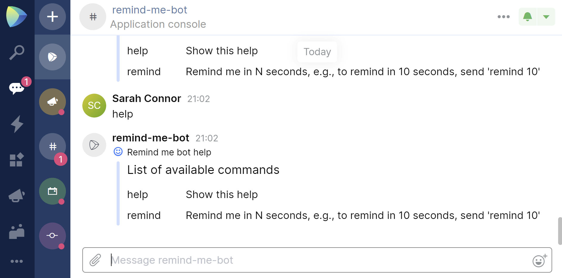 Space chatbot with buttons