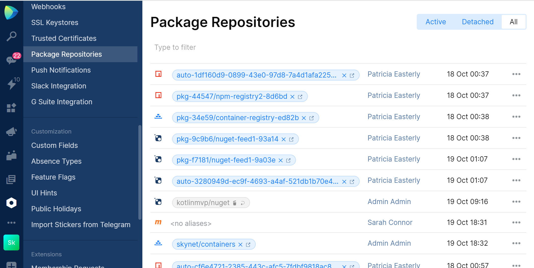Package Repositories page