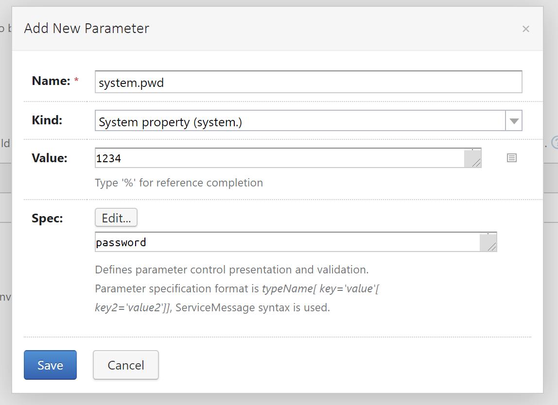 Set Space password in TeamCity