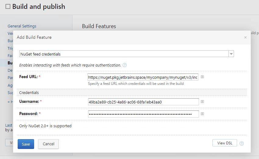 TeamCity. Add NuGet feed credentials