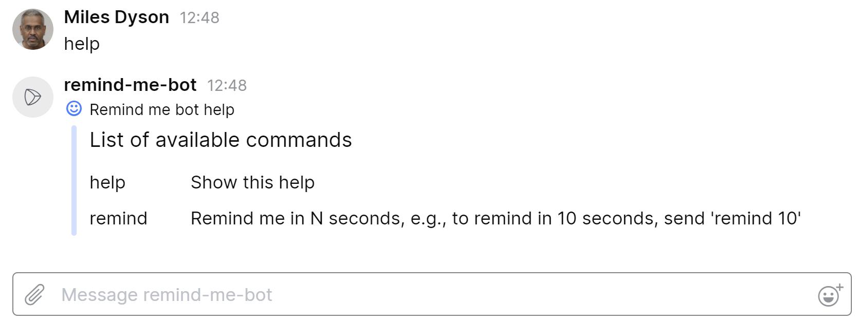 Help command