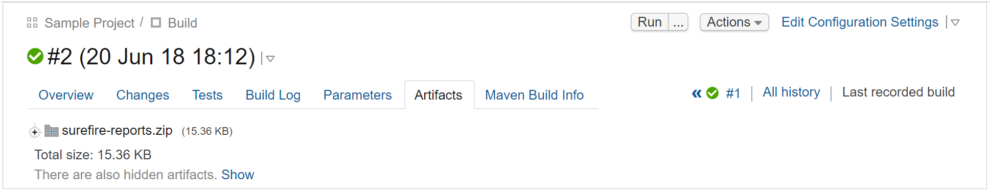 Artifacts in build results