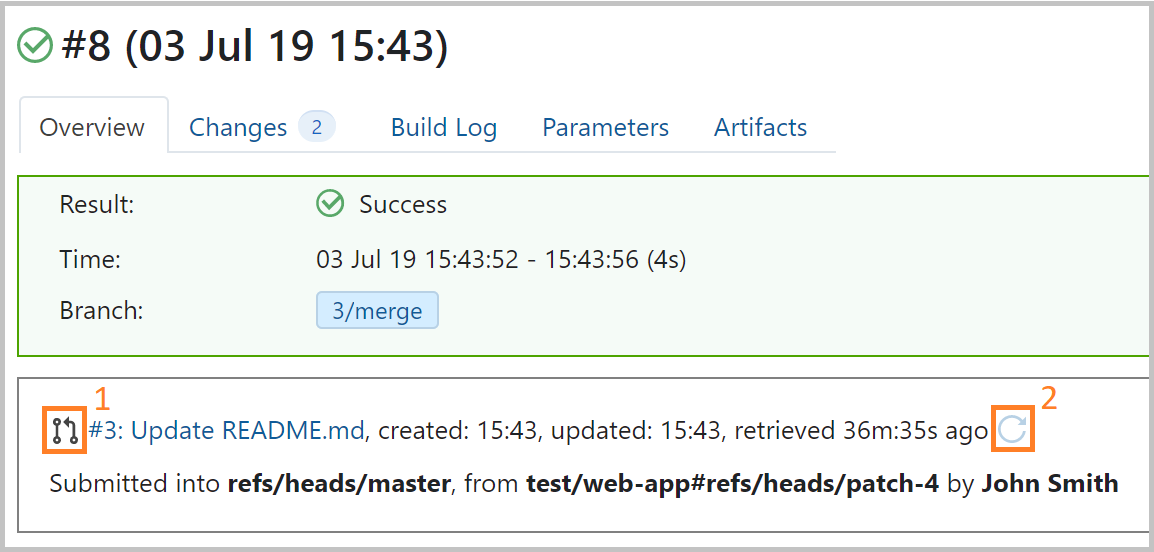 Pull Request information in Build Overview