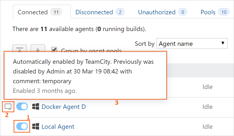 Enable/disable an agent