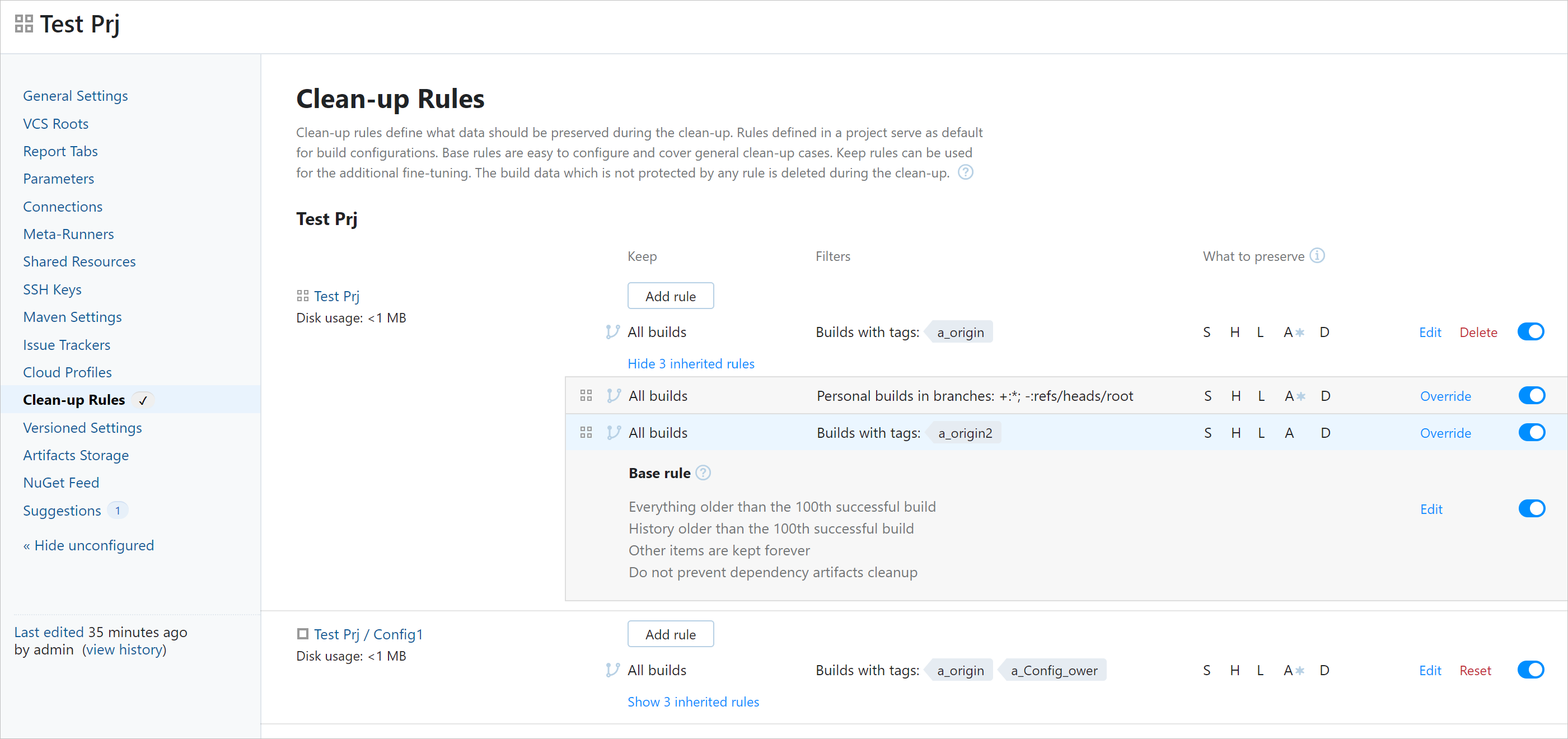Clean-Up Rules page