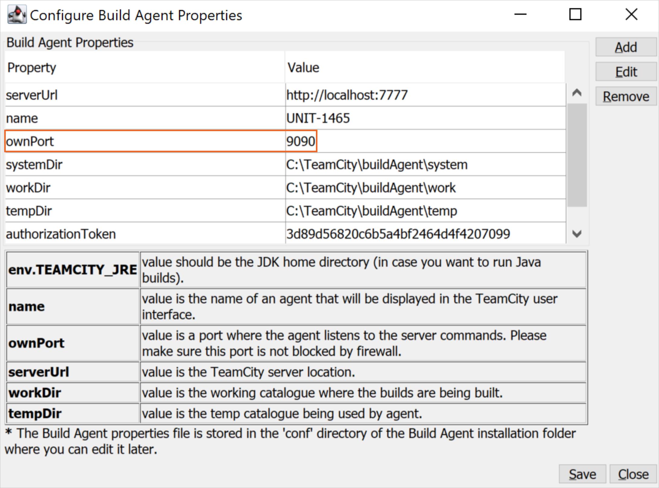 Configure a build agent port