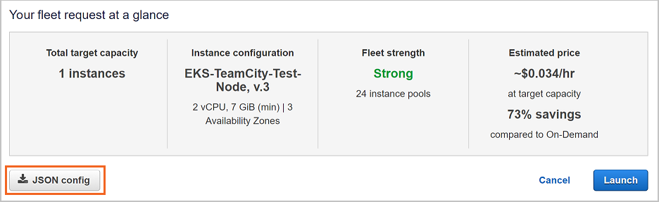 Spot fleet config generation button in Amazon