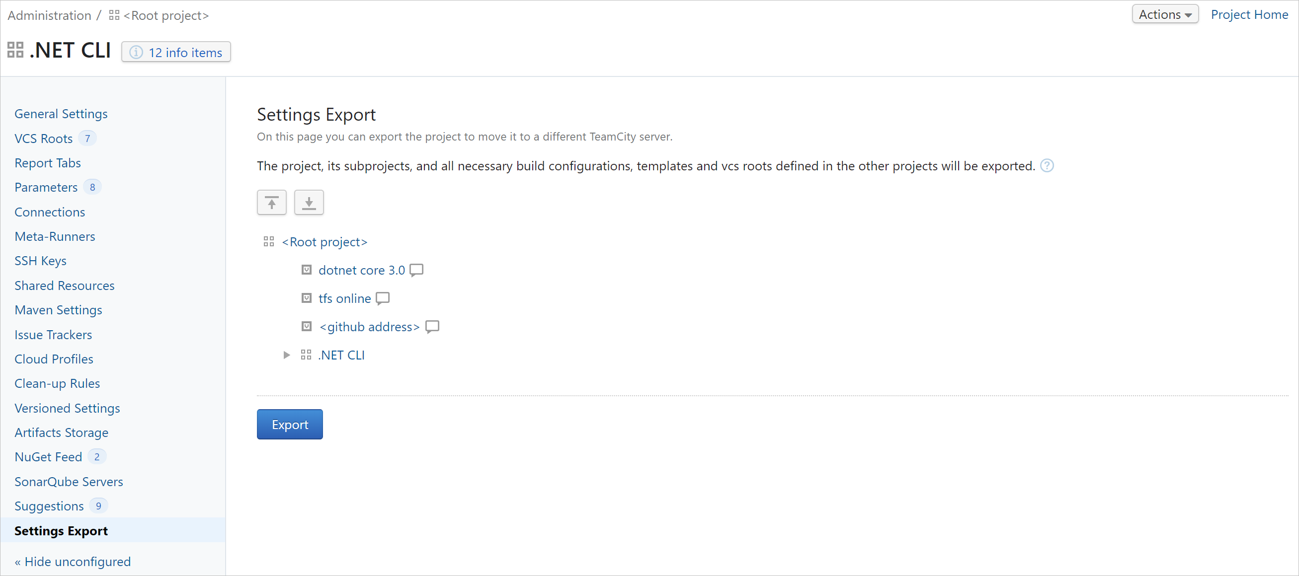Project export settings