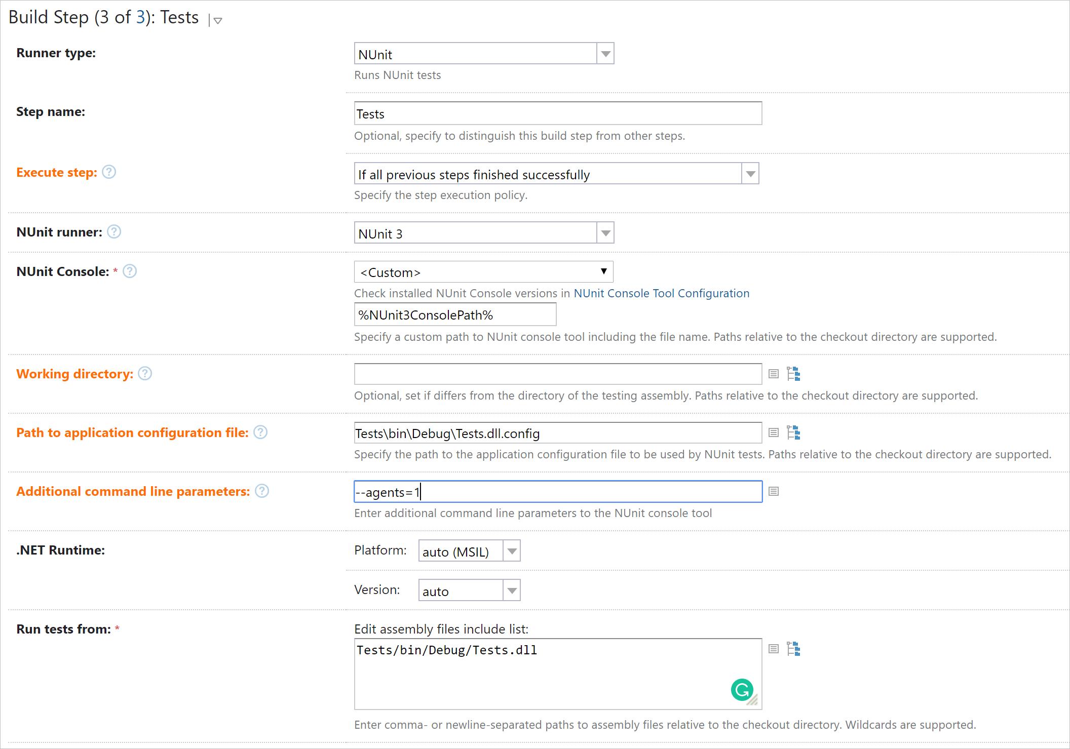 Build step: NUnit, advanced options