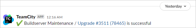 TeamCity notification in Slack