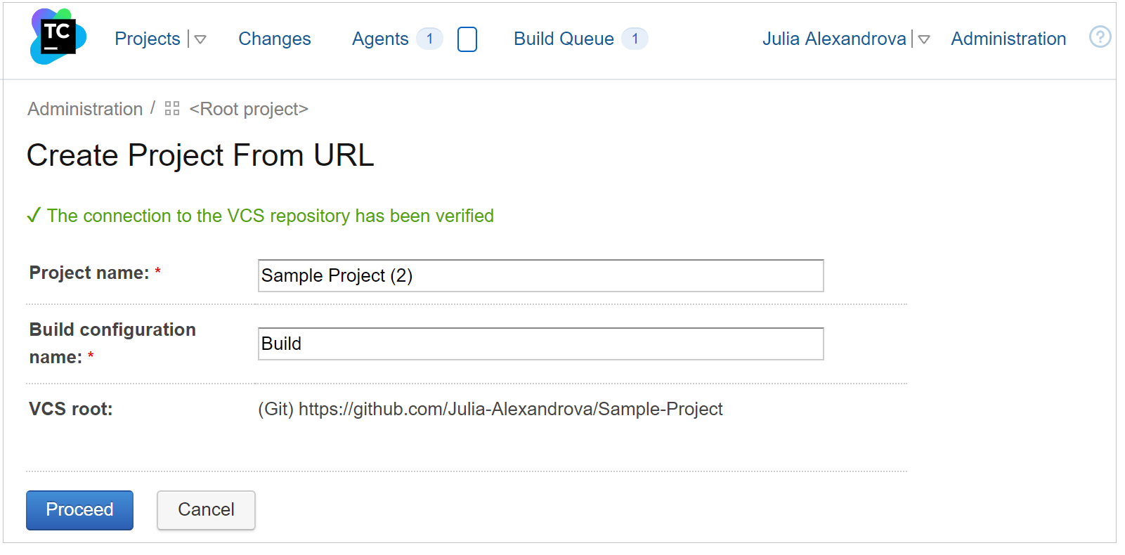Create a project from a repository URL, Step 2