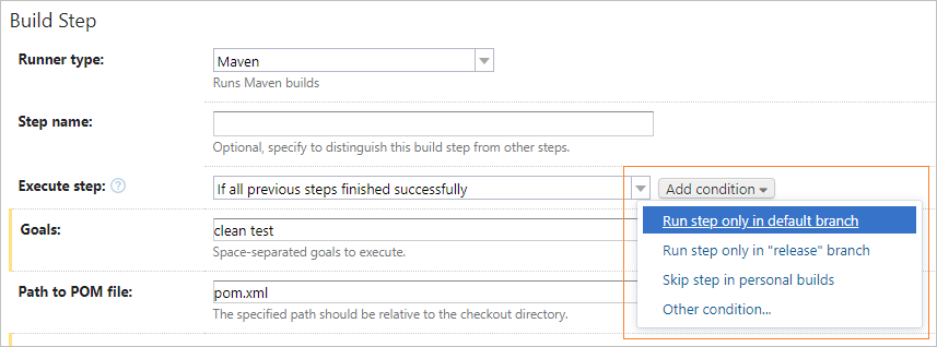 Build step execution condition