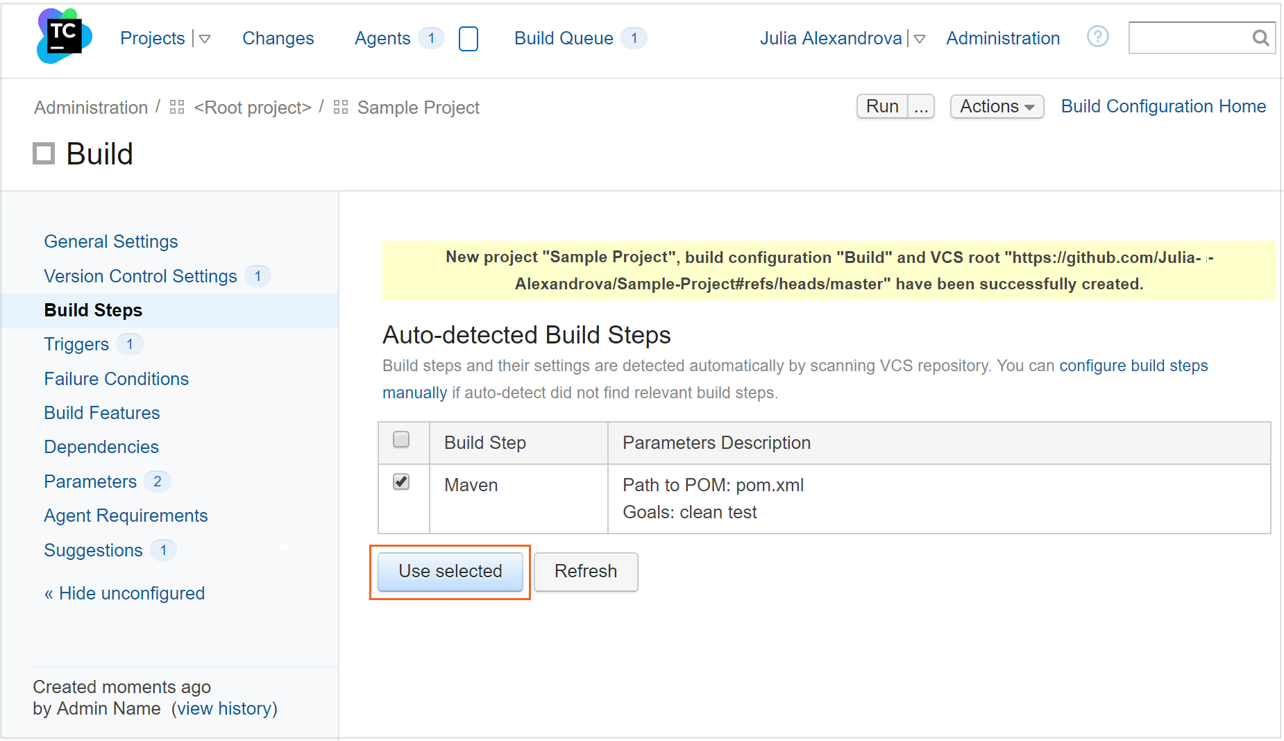 Create a project from a repository URL, Step 3