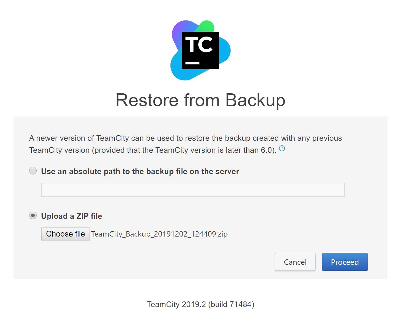 Automatic backup restore
