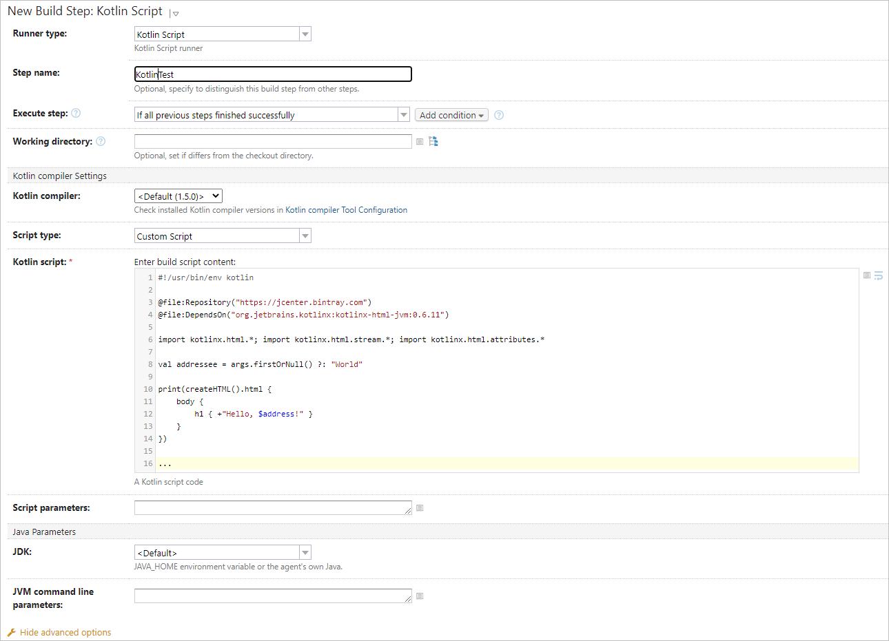 Kotlin Script build step