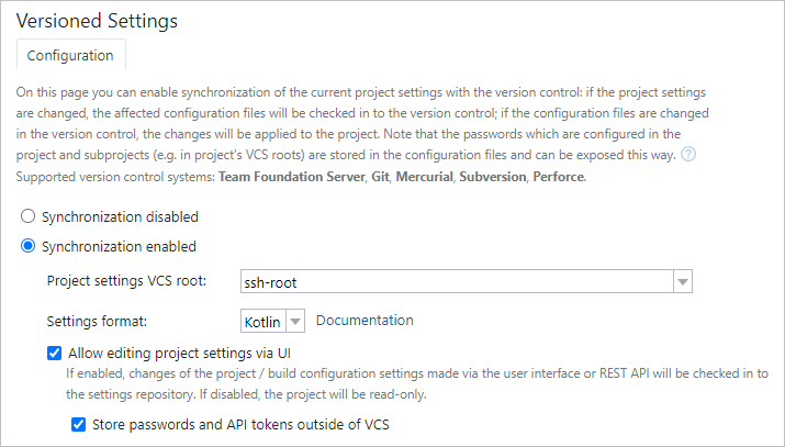 Read-only project settings