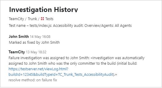 Investigation history