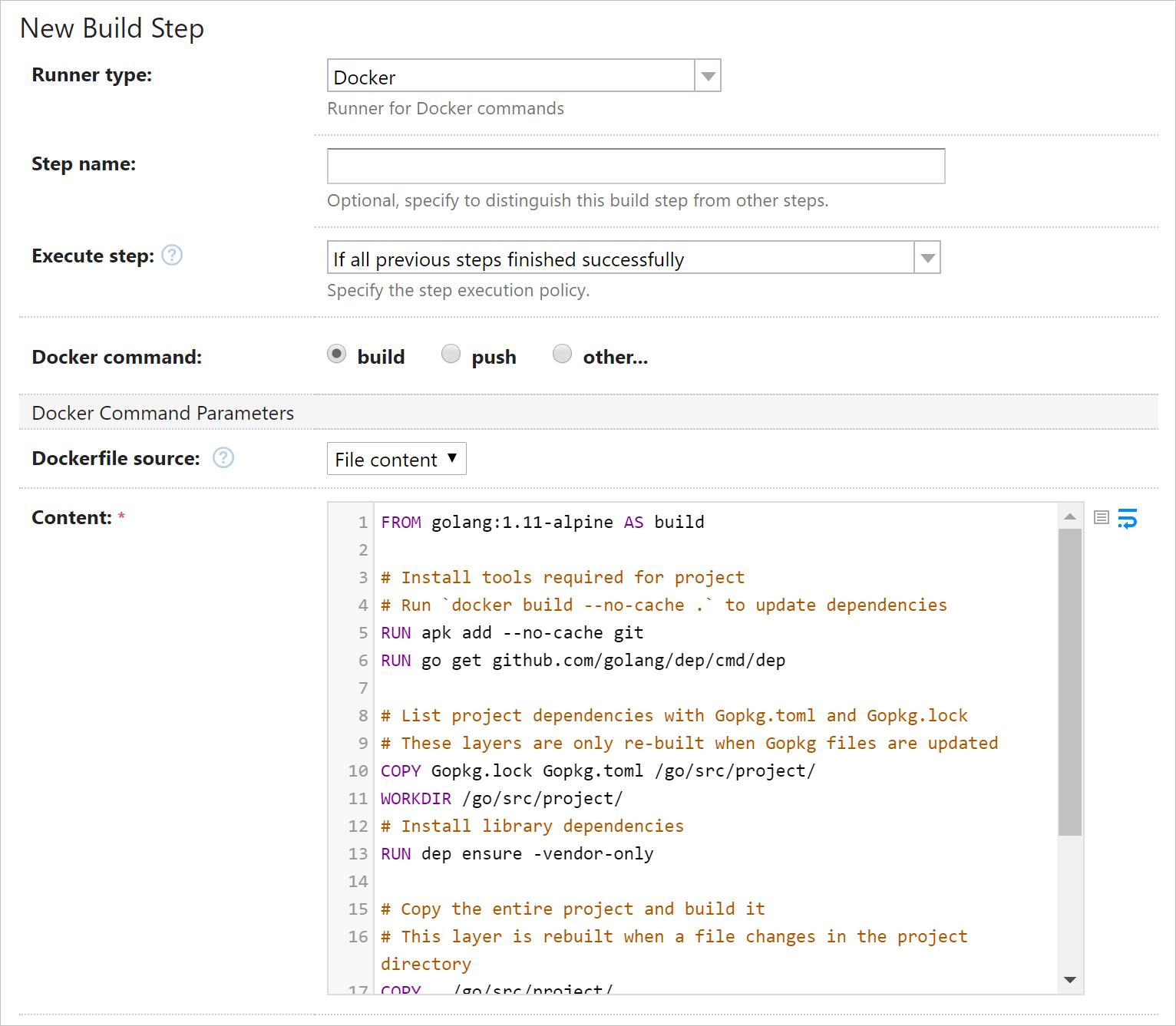 Example of Dockerfile highlighting in TeamCity