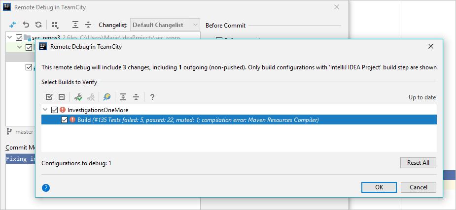 Remote debugging dialog