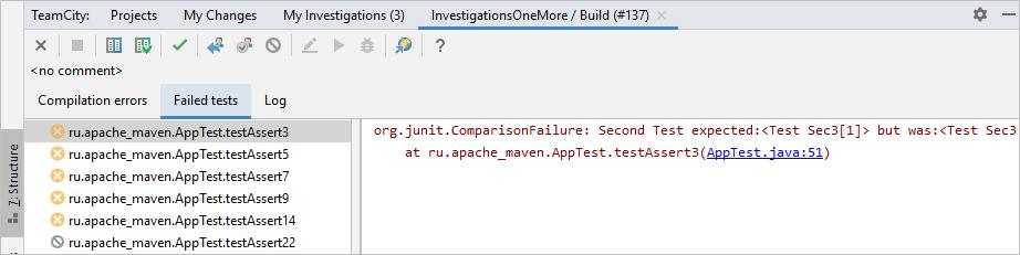 TeamCity build log tab