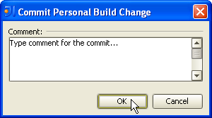 Commit Personal Build Change dialog