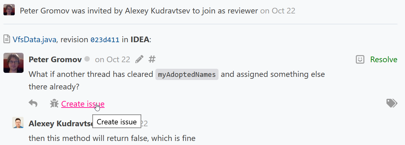 CR create issue comment1