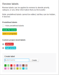 review labels settings