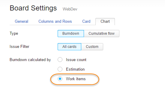 Calculate Burndown Settings