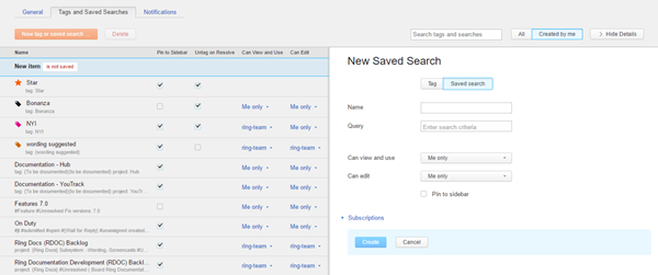 new saved search sidebar