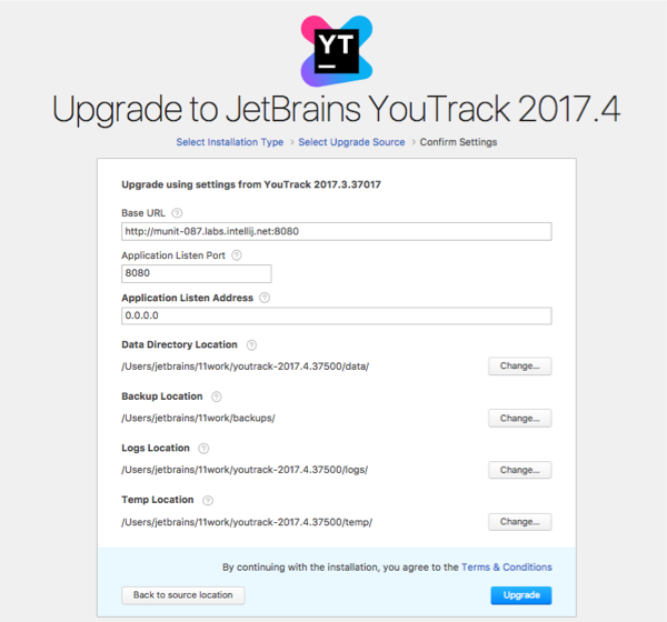 youtrack zip upgrade settings