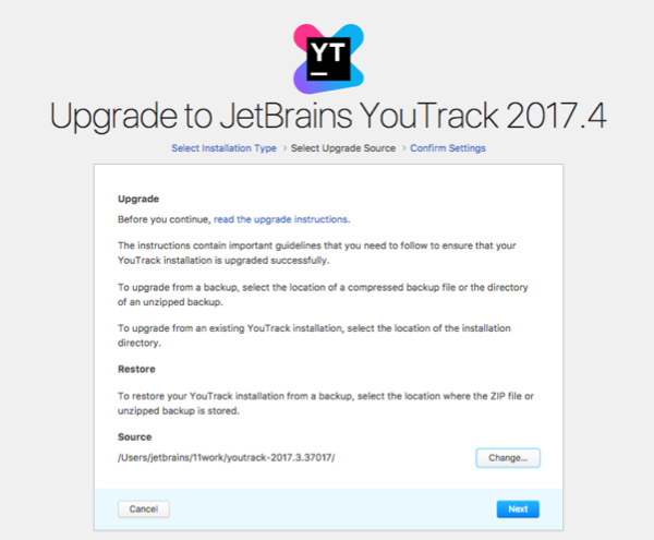 youtrack zip upgrade source